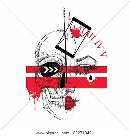 Vector illustration with dotted half woman face and skull, abstract lines, hourglass and blots in red and black isolated. Sketch for tattoo in Trash Polka and dotwork style. Creative design for tattoo