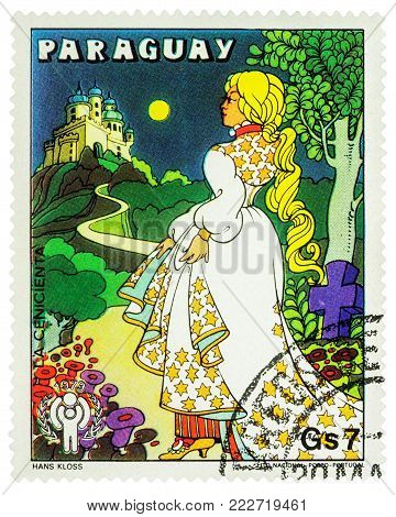 Moscow, Russia - January 18, 2018: A stamp printed in Paraguay shows Cinderella with new dress, scene from fairy tale, series