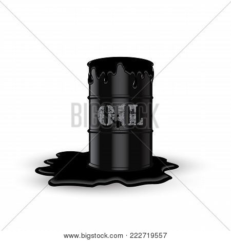 Dirty oil barrel with oil stain. Vector ecology illustration