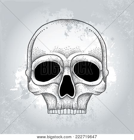 Vector dotted skull in black on the gray textured background. Front view. Element for Halloween design in dotwork style. Creative concept for tattooing and trash decor.