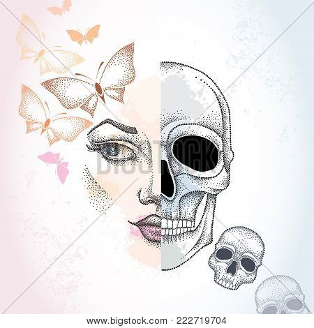 Vector dotted half beautiful woman face and skull on the pastel blots background with butterflies in pink and skulls. Concept of duality.