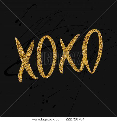 Romantic typographic poster with handdrawn lettering. Modern ink calligraphy. Handwritten gold glitter phrase XOXO on messy dark background. Trendy vector design for Valentines Day or wedding