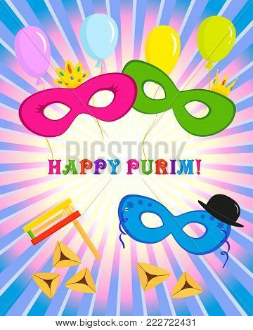 Jewish holiday of Purim, masks with traditional hamantash cookies, gragger noise maker and balloons, greeting inscription - Happy Purim