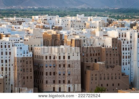 SHIBAM, YEMEN - MAY 8, 2007: Multi- storey buildings made from mud in Shibam, a UNESCO World Heritage Site in Yemen on May 8, 2007. Among other arabic countries, in 2012 Yemen became a site of civil conflicts, which still continue.