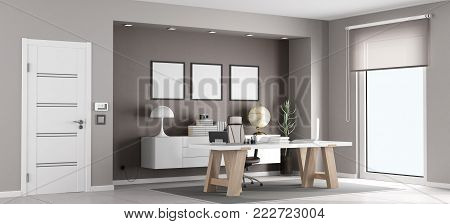 White and brown modern office with desk and chair - 3d rendering