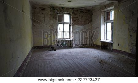 Empty room in an abandoned building, abandoned house,