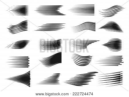 Speed line set. Comics motion lines for fast moving object or moving quickly person. Vector line art illustration isolated on white background