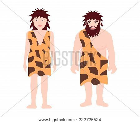 Stone age primitive man and woman wear in animal skin standing. Adult character. Ancient human. Cartoon caveman. Template for presentation, banners, books. Flat vector illustration