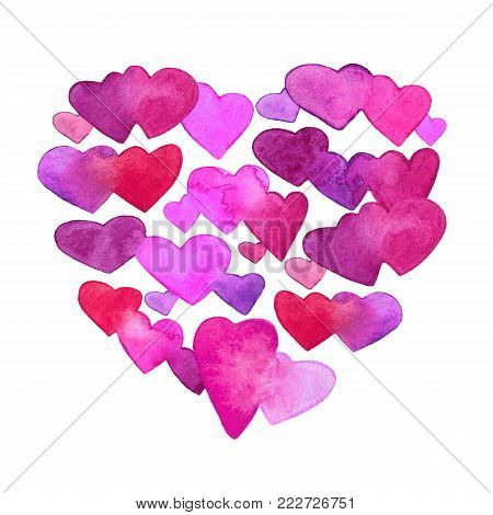 Pattern with red, pink and violet watercolor hearts. romantic design. Isolated on white background. Hand painted brush elements. Modern and teen. Love sign. Valintine Day symbol