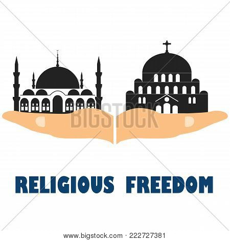 Religious freedom. Flat vector stock illustration on a white background