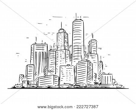 Vector cartoon sketchy hand drawing illustration of city high rise cityscape landscape with skyscraper buildings.