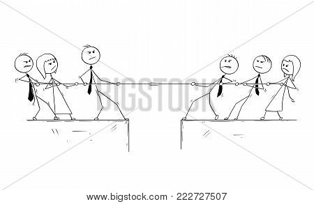 Cartoon stick man drawing conceptual illustration of business office team competition of tug of war.