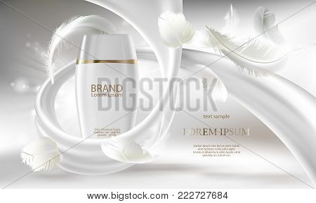 Vector cosmetic banner with 3d realistic white bottle for skin care cream or body lotion, ready mockup for promotion your brand. Beauty product concept illustration with creamy swirl and feathers