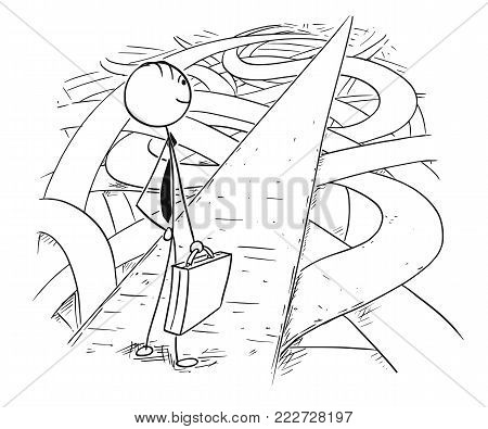 Cartoon stick man drawing conceptual illustration of businessman who found easy and secure way through chaos of crisis.