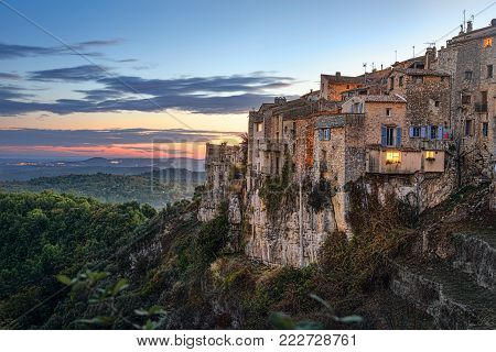 Mountain village Tourrettes-sur-Loup on sunset, Alpes-Maritimes, France