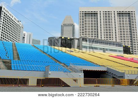 Singapore, Singapore - December 11, 2017. Stands of the Float platform in Singapore, with surrounding buildings.