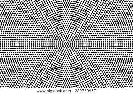 Black and white dotted halftone vector background. Frequent radial dotted overlay. Abstract monochrome background. Black ink dotwork on transparent backdrop. Perforated template. Pop art retro design
