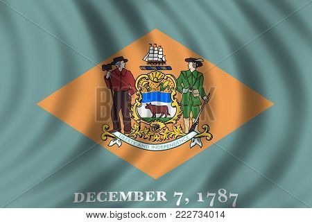 Closeup waving and detailed flag of Delaware