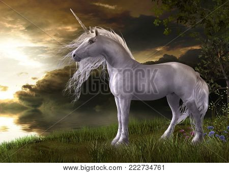 3D illustration of an enchanting white unicorn watching a sunset reflecting in water