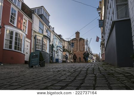 LYMINGTON, NEW FOREST, HAMPSHIRE, UK, JANUARY 2018 - View of  Quay Hill in the town of Lymington, New Forest, Hampshire, UK