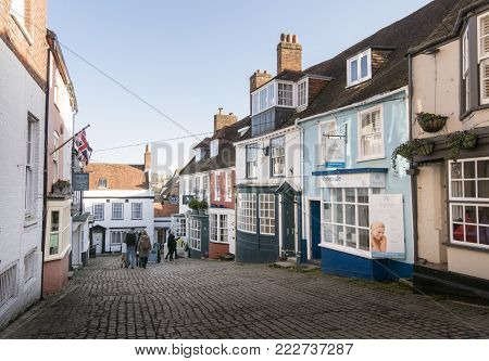 LYMINGTON, NEW FOREST, HAMPSHIRE, UK, JANUARY 2018 - View of the Quay Hill in the town of Lymington, New Forest, Hampshire, UK