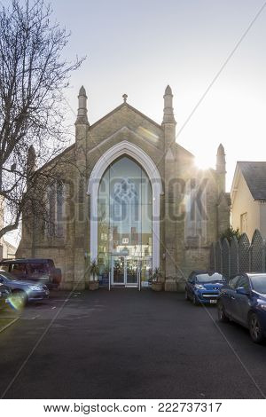 LYMINGTON, NEW FOREST, HAMPSHIRE, UK, JANUARY 2018 - The United Reformed church in the town of Lymington, New Forest, Hampshire, UK