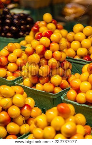 Rows of fresh yellow Rainier Cherries for sale at the farmers market.