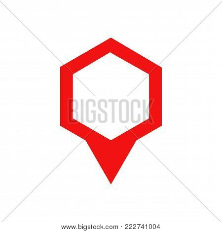Map pin icon. Flat location pointer sign. Red hixagone shaped template logo symbol. Isolated gps arrow vector illustration