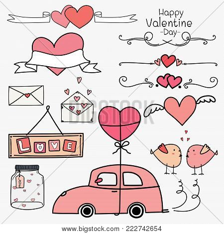 Happy Valentine Day. Set Of Doodle Valentine Day Ornaments And Decorative Elements Pink Concept. Car And Heart Balloon, Banner, Ribbon, Labels, Badge, Stickers. Handmade Vector Illustration.
