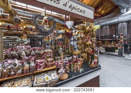 Colmar, France - May 2017: Spices Store At The Local Market
