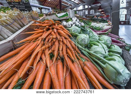 Colmar, France - May 2017: Fresh Vegetables On Sale At The Local Farmers Market