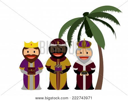Three wise men with their gifts, Vector illustration