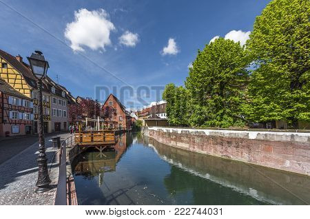 Colmar, France - May 2017: The Canal At Little Venice Quarter In Town