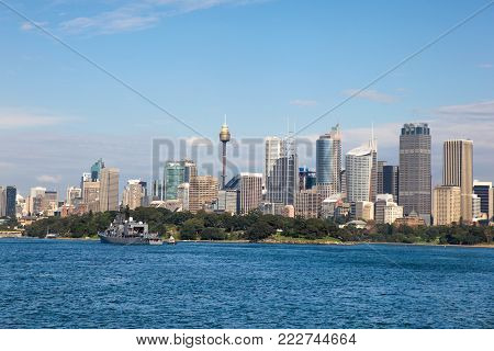 View of Sydney CBD from Sydney Harbour New South Wales Australia. Sydney is Australia's oldest and largest city and is centred around one of the most beautiful harbours in the world.
