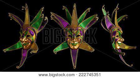 Set of colorful Mardi Gras masks isolated on black