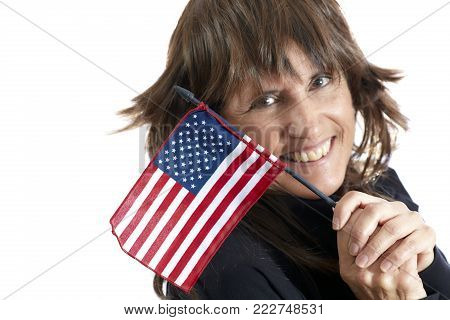 Mature Woman Waving An American Flag