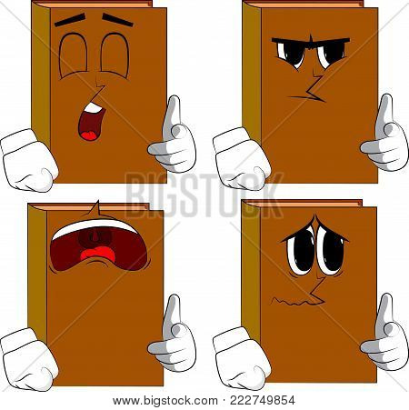 Books pointing at the viewer with his hand. Cartoon book collection with sad faces. Expressions vector set.