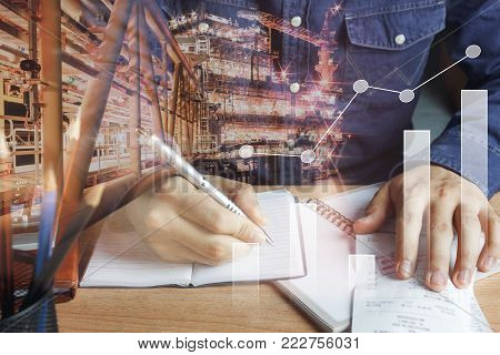 Double Exposure Chart Growth Up & Financial And Industrial Background Concept.business Man Working C