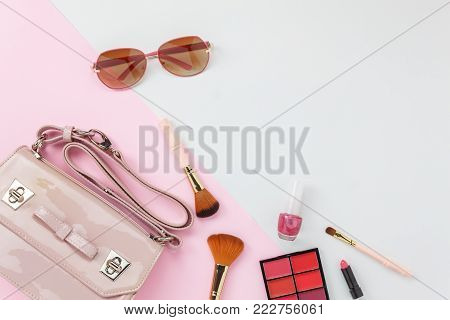 Table Top View Accessory Of Clothing Women  Plan To Travel In Holiday Background Concept.hand Bag Wi