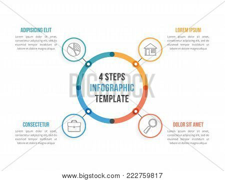 Circle infographic template with four elements, steps or options, workflow or process diagram, vector eps10 illustration