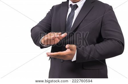 Business Man In A Suit Clapping Hands isolated on white background