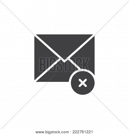 Not delivered message icon vector, filled flat sign, solid pictogram isolated on white. Envelope with error symbol, logo illustration.