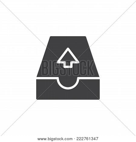Email outbox icon vector, filled flat sign, solid pictogram isolated on white. Outgoing mail symbol, logo illustration.
