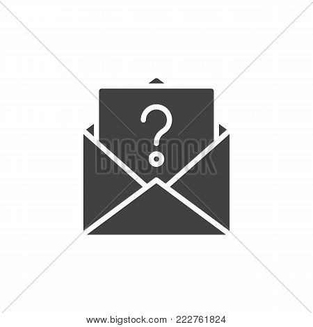 Unknown email icon vector, filled flat sign, solid pictogram isolated on white. Letter with question mark symbol, logo illustration.