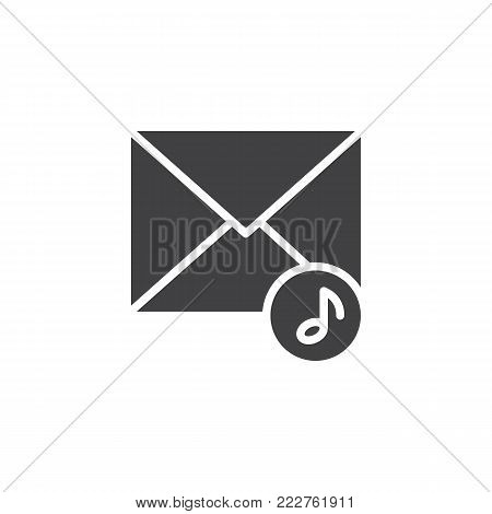 Music envelope icon vector, filled flat sign, solid pictogram isolated on white. Voice message symbol, logo illustration.