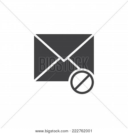 Blocked mail icon vector, filled flat sign, solid pictogram isolated on white. Delete email symbol, logo illustration.
