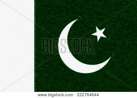 Watercolor flag of Pakistan, paper texture. Symbol of Independence Day, souvenir soccer game, button language, icon.