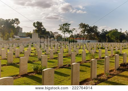 Beer-sheba, Israel - Nov, 17, 2016: Many Tombs On Military Cemetery Of Australian Cavalry Corps In B