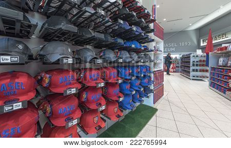 Basel, Switzerland - May 2017: In The Official Fan Shop At St. Jakob-park - The Official Fc Basel St