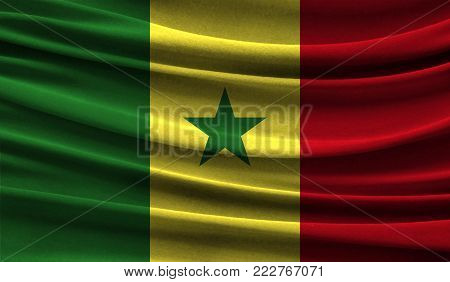 Realistic flag of Senegal on the wavy surface of fabric. This flag can be used in design poster